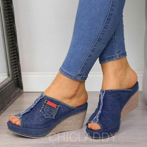 Women's Denim Wedge Heel Sandals Wedges Peep Toe Slippers Heels With Split Joint shoes