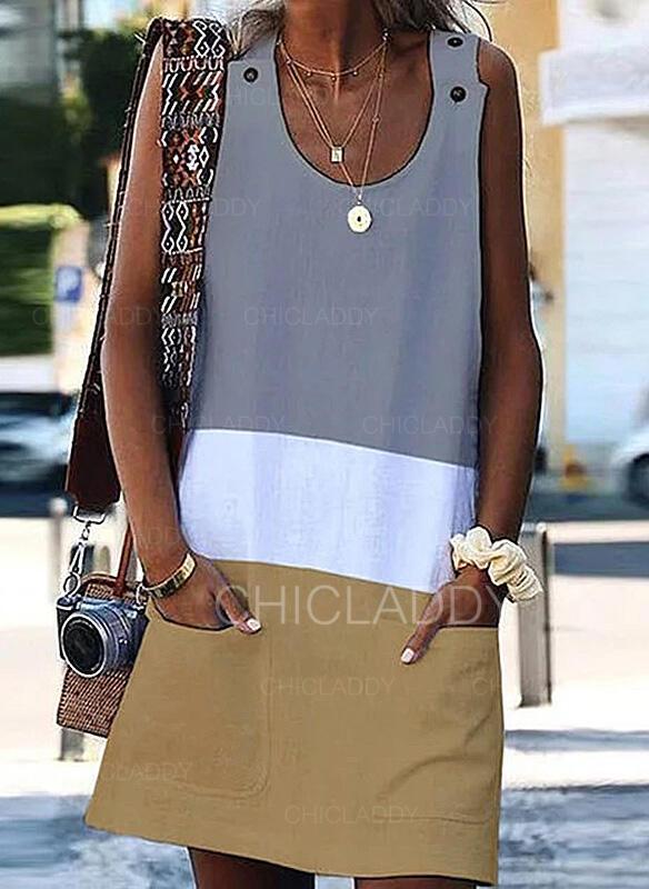 Color Block Sleeveless Shift Knee Length Casual/Vacation Dresses