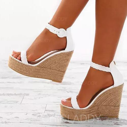 De mujer Cuero Tipo de tacón Sandalias Cuñas Encaje Tacones con Hebilla zapatos