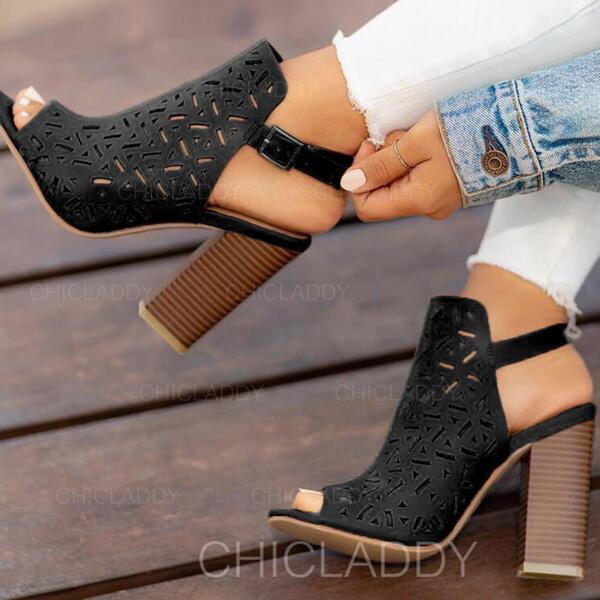 Bayanlar PU Tıknaz Topuk Peep Toe Ile Toka ayakkabı