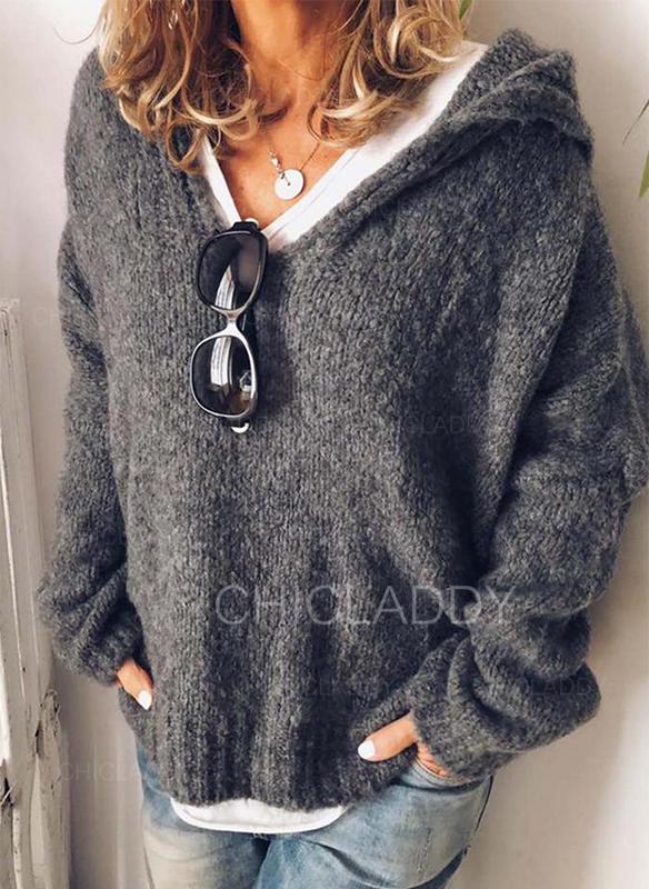 Solid Klumpig stickning Hooded Casual Tröjor