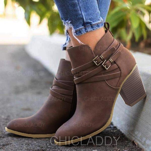 Donna PU Tacco spesso Stivali alla caviglia Punta a punta con Fibbia Allacciato scarpe