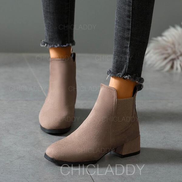 Dla kobiet Zamsz Obcas Slupek Botki Niskie góry Round Toe Z Elastic Band Jednolity kolor obuwie