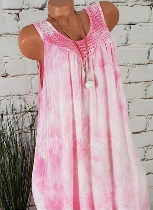 Tie Dye Sleeveless Shift Above Knee Casual/Vacation Tank Dresses