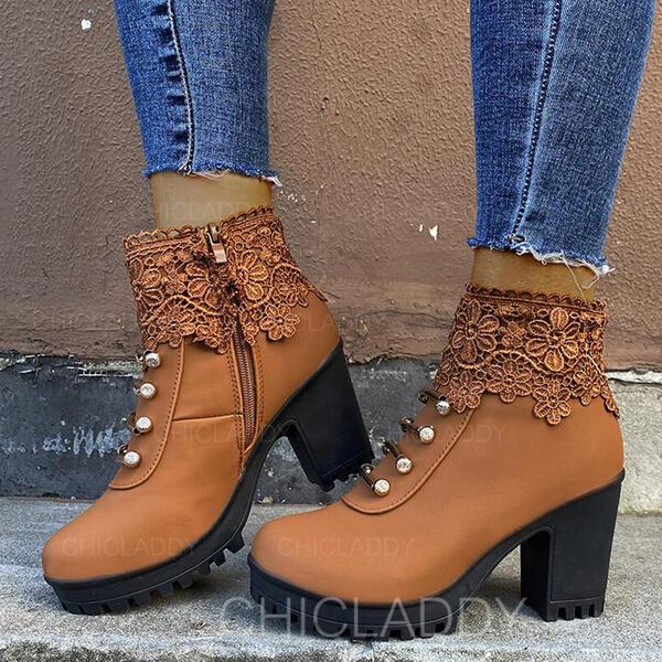 Donna PU Tacco spesso Stivali alla caviglia Martin boots Punta rotonda con Fibbia Cerniera scarpe