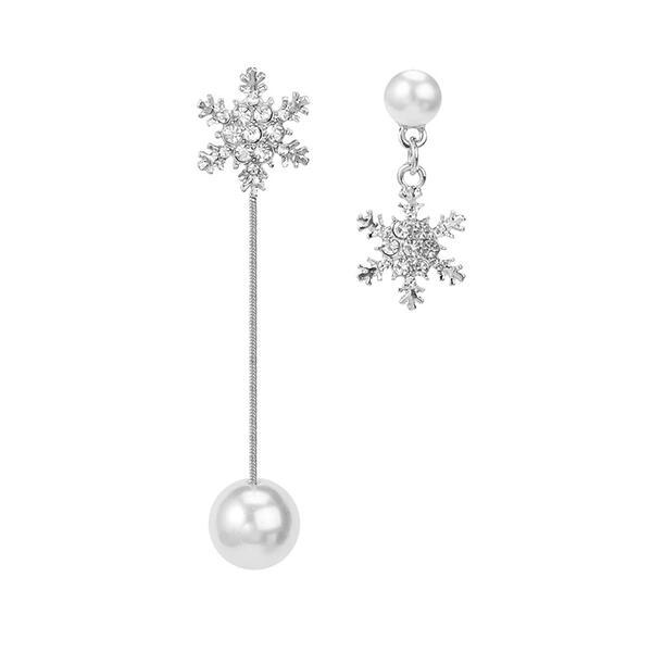 Fiocco di Neve lega Strass Di faux perla Donna Orecchini 2 pezzi