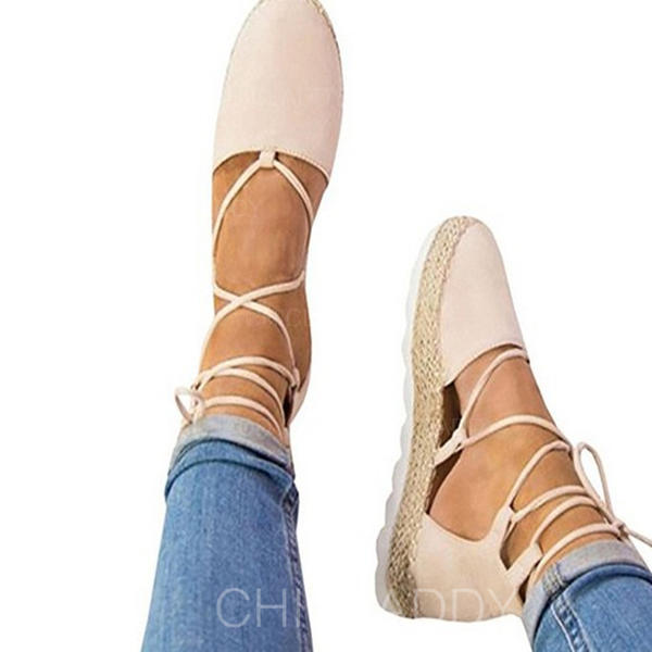 Women's Suede Wedge Heel Platform Wedges With Lace-up shoes