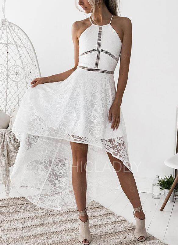 Csipke/Egyszínű Ujjatlan A-vonal Aszimmetrikus Szexis/Party Halka φορέματα