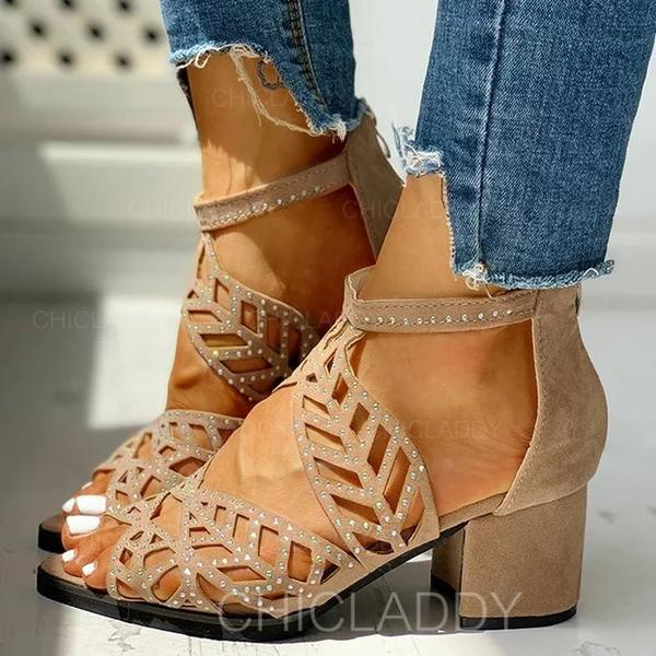 Γοβάκια Ανοιχτά σανδάλια toe Με Τεχνητό διαμάντι Φερμουάρ Κουκούλα-έξω παπούτσια