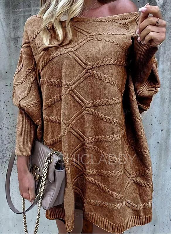 Solido Girocollo Casual Abito maglione