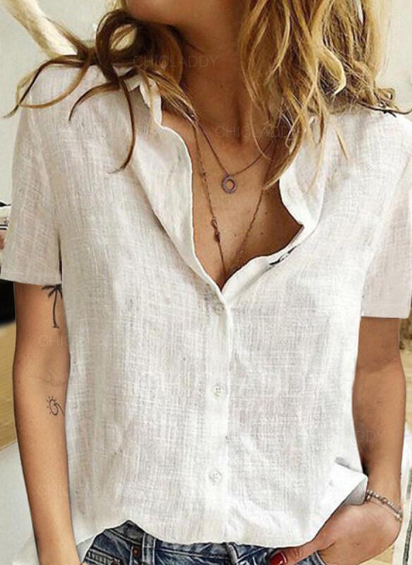 Pevný Klopa Krátké rukávy Na Knoflíky Neformální Košile halenky