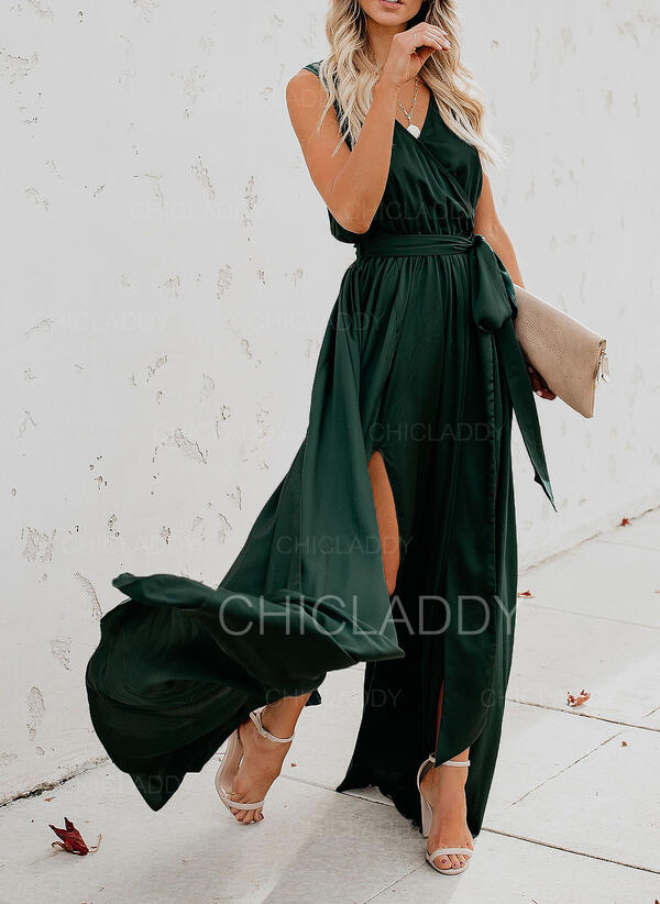 Solid Sleeveless A-line Wrap/Skater Casual/Vacation Maxi Dresses