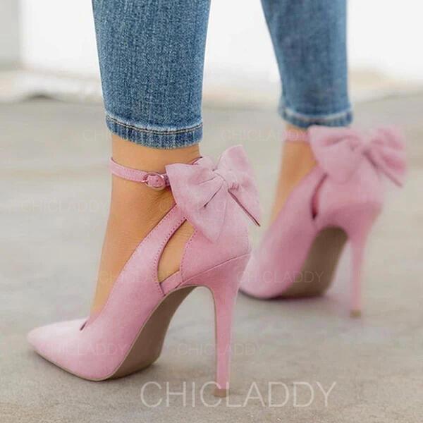 Γυναίκες Microfiber δέρμα Ψηλό τακούνι Γοβάκια Με Bowknot παπούτσια