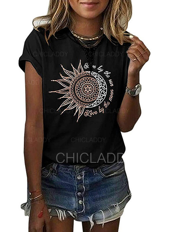 Print Figure Round Neck Short Sleeves Casual T-shirts