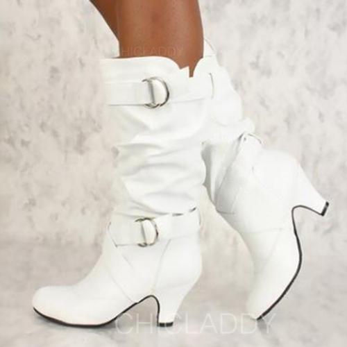Mulheres Couro PU Salto agulha Bombas Fechados Botas Bota no joelho com Fivela Pregueado sapatos