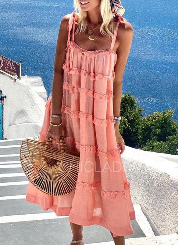 固体 ノースリーブ シフトドレス スリップ カジュアル/休暇 ミディ ドレス