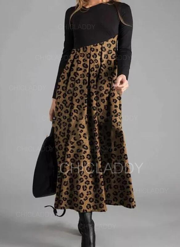 Leopard Dlouhé rukávy Áčkové Skaterové Neformální Maxi Šaty