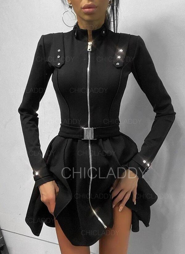 Pevný Dlouhé rukávy Áčkové Nad kolena Malé černé/Elegantní Skaterové Šaty