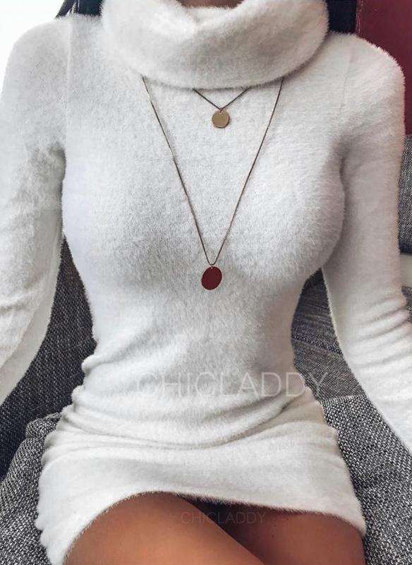 Jednobarevné Dlouhé rukávy Přiléhavé Nad kolena Malé černé/Neformální/Elegantní Rochii