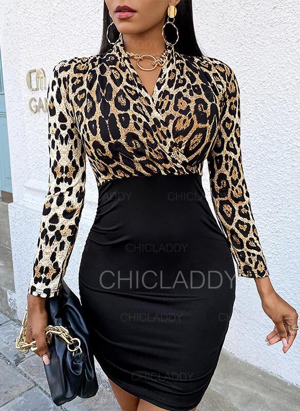 Tisk/Leopard Dlouhé rukávy Přiléhavé Nad kolena Elegantní Šaty