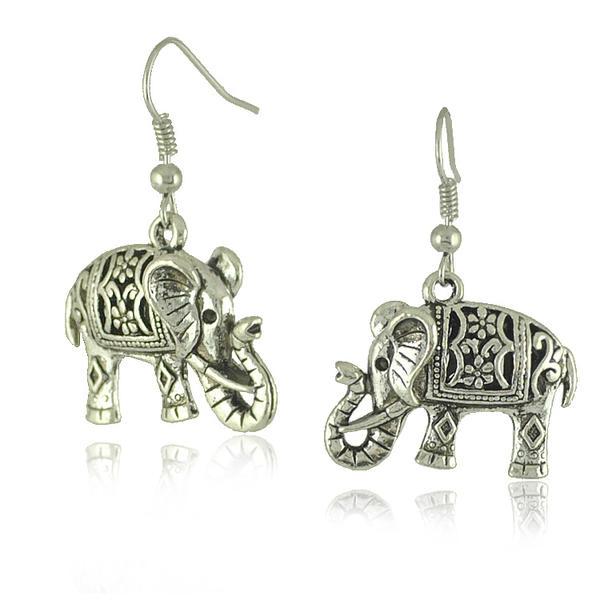 Santo Elefante Prata tibetana Senhoras Moda Brincos