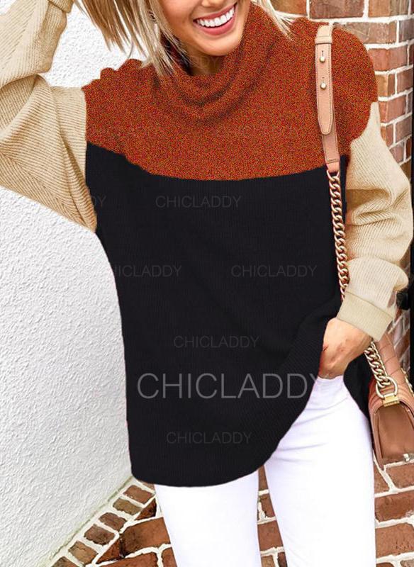 Bloque de color Cuello Alto Manga Larga Casual Tejido De Punto Blusas