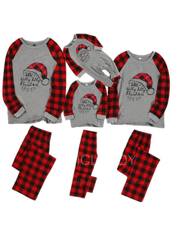 Tartan Lettera Stampa Famiglia Partita Di Natale Pajamas