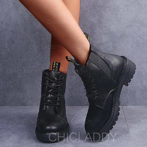 Donna PU Tacco basso Stivali alla caviglia Martin boots Punta rotonda con Cerniera Allacciato scarpe