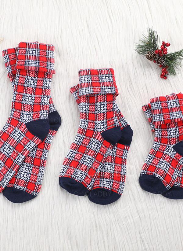 Kostkovaný Komfortní/Vánoce/Posádkové ponožky/Rodinné odpovídající/Unisex Ponožky