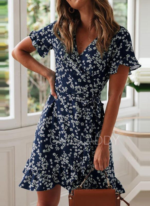 floral short casual dresses