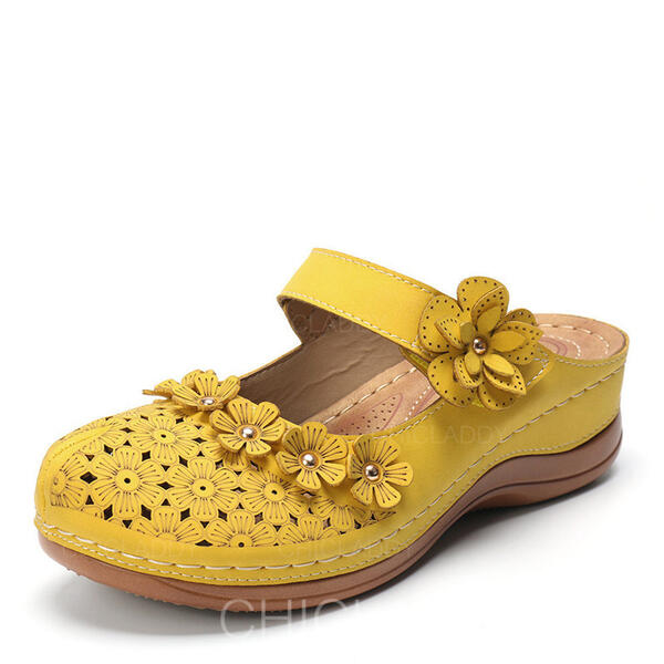 De mujer Cuero PU Tacón ancho Sandalias Planos Pantuflas Encaje con Hebilla Agujereado Flor zapatos