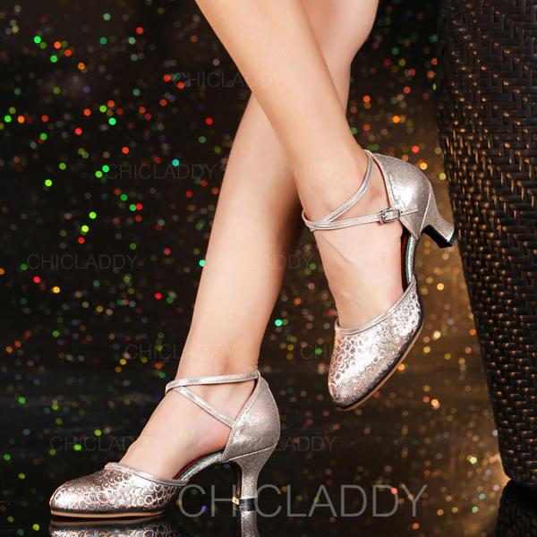 Mulheres Salão de Baile Swing Saltos Couro Latino