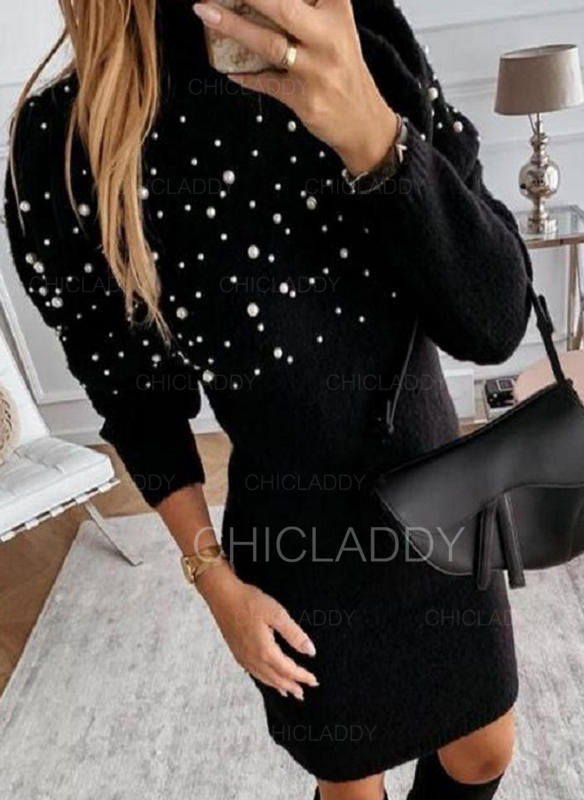 Solid Turtleneck Casual Sweater Dress
