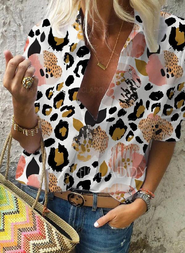 Tisk Leopard Klopa Dlouhé rukávy Neformální Blůzy