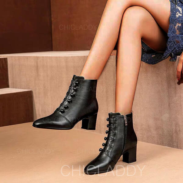 Donna Similpelle Tacco spesso Stiletto Stivali Stivali alla caviglia Punta a punta con Cerniera Bottone scarpe