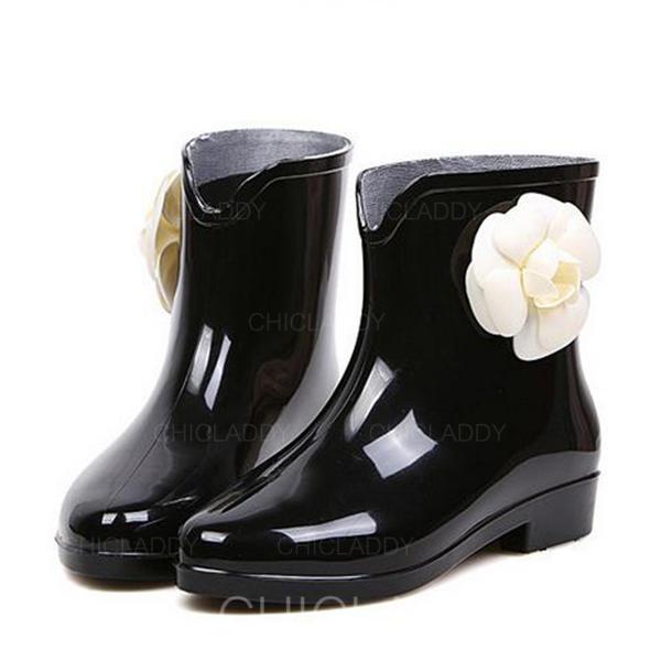 De mujer PVC Tacón bajo Botas Botas al tobillo Botas de lluvia con Flor zapatos