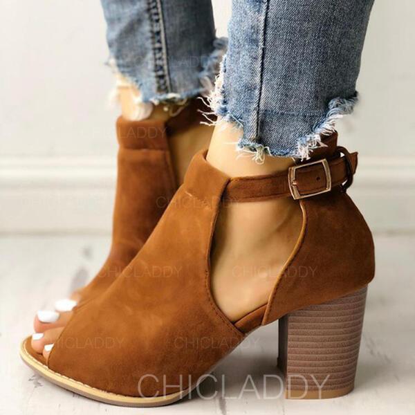 De mujer Ante Tacón ancho Botas al tobillo con Hebilla zapatos