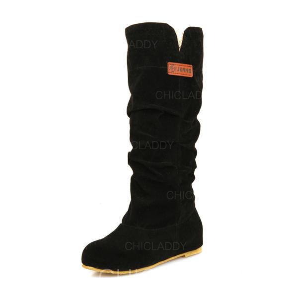 Femmes Suède Talon plat Chaussures plates Bout fermé Bottes Bottes mi-mollets avec Plissé chaussures