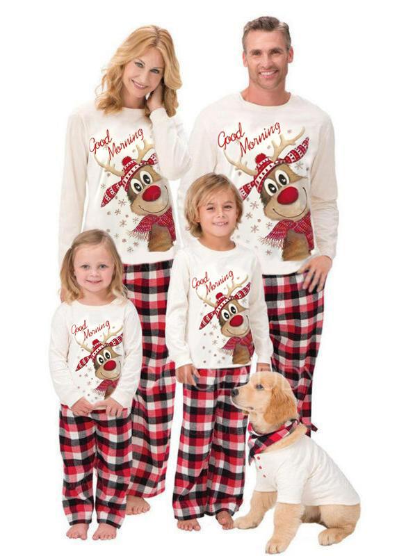 Soby Kostkovaný Dopis Tisk Rodinné odpovídající Vánoční pyžama