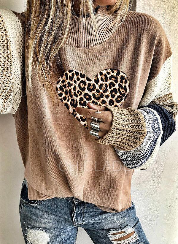 Цветной блок леопард Сердце водолазка Повседневная Свитера