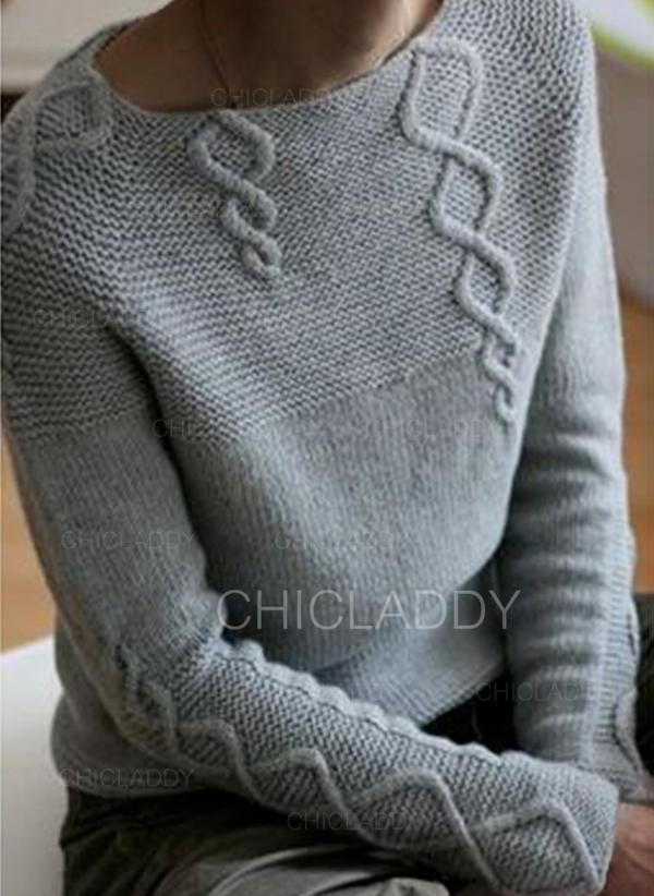 Jednobarevné Copánkový vzor Hrubá pletenina Kulatý výtřih Neformální Pulovere