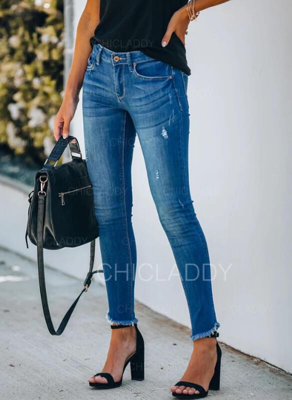 Pevný Dlouho Neformální Plus velikost Tassel hlubokým výstřihem patch Knoflík Kalhoty Denim & Džíny