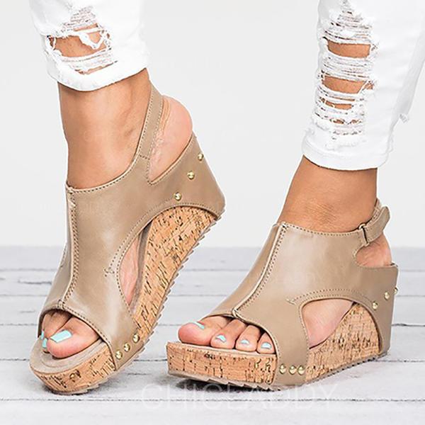 Pentru Femei Imitaţie de Piele Platforme Înalte Sandale Încălţăminte cu Toc Înalt Puţin decupat în faţă Borsete cu Nit pantofi
