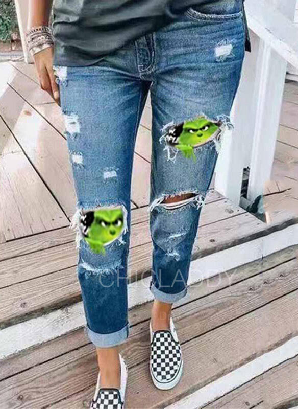 Patchwork Stampa Strappata Natale Sexy Vintage Denim & Jeans