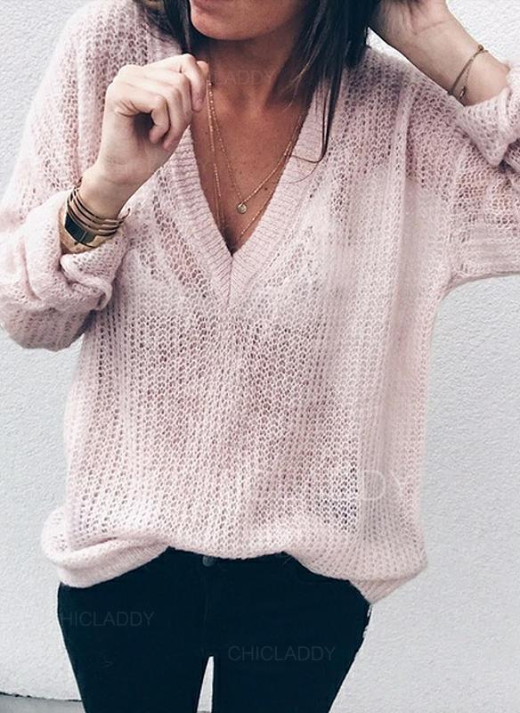 """Jednobarevný Výstřih do """"V"""" Dlouhé rukávy Neformální Sexy Bluze"""