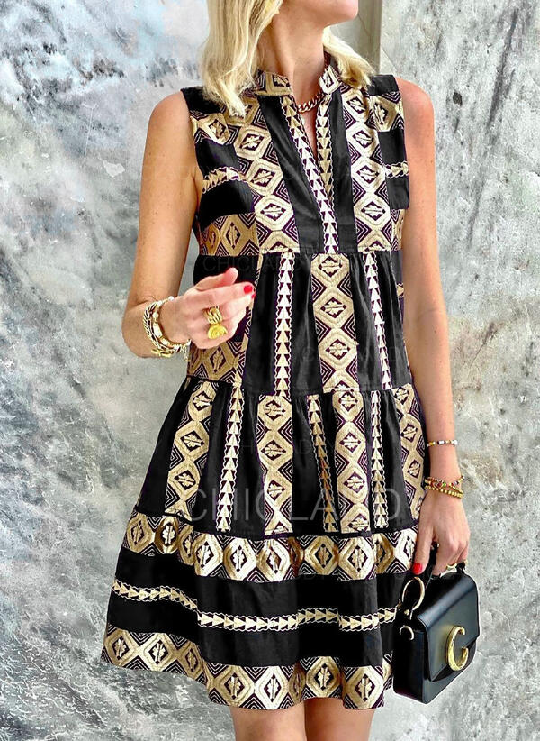 Tisk Bezrukávů Splývavé Nad kolena Elegantní Šaty