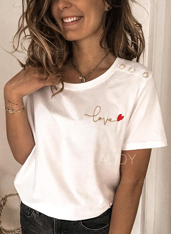 Impresión Corazón Cuello redondo Manga corta Casual Camisetas