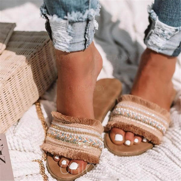 De mujer Cuero Tacón plano Sandalias Planos Encaje Pantuflas con Borla zapatos
