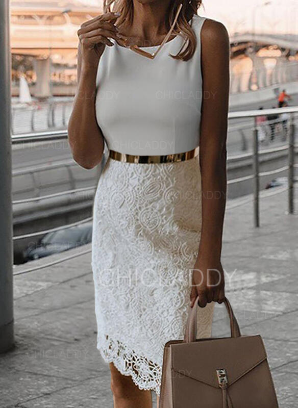 безрукавный Bodycon Длина колена Маленький черный/Повседневная/элегантный Платья