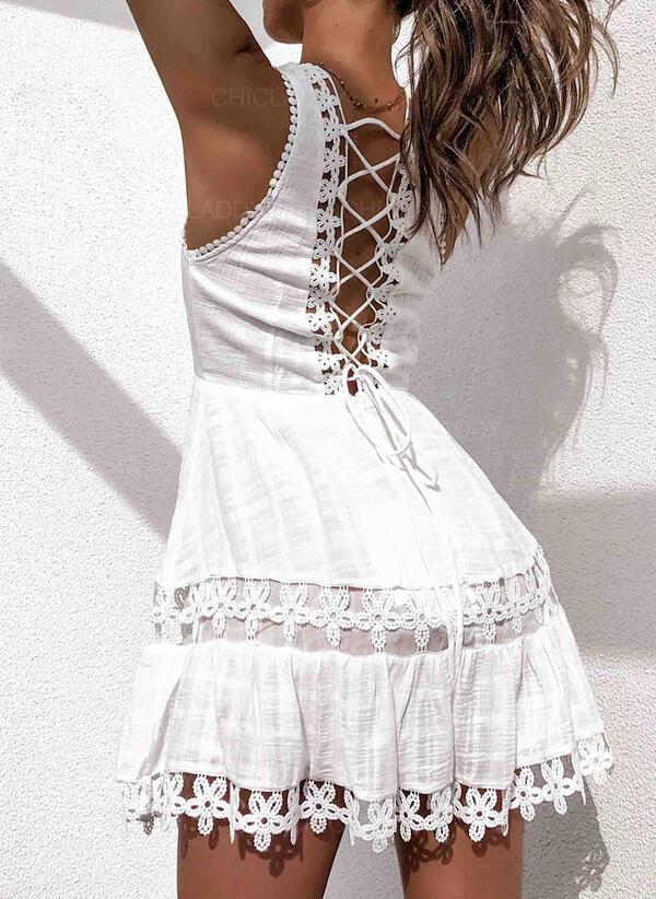 Koronka Bez rękawów W kształcie litery A Nad kolana Casual/Wakacyjna Łyżwiaż Sukienki